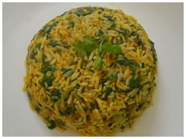 Garlicky spinach rice recipe