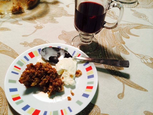 Mulled Wine and Peach Cobbler