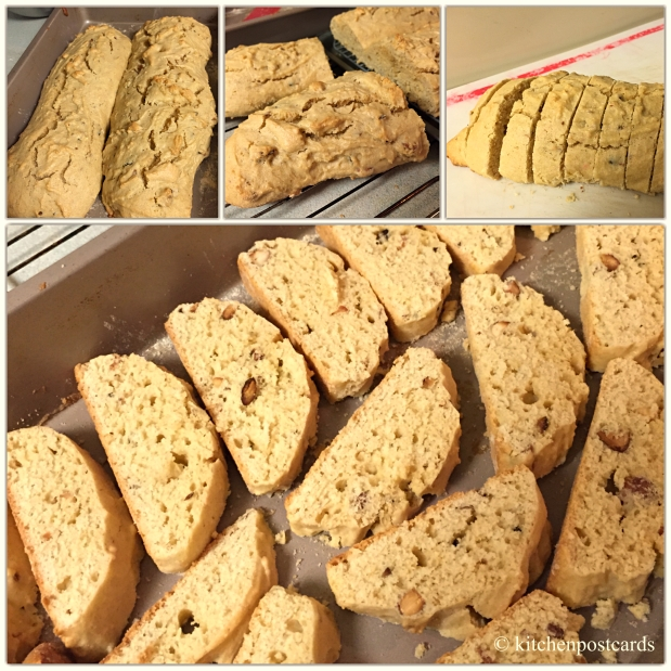 Slicing once baked biscotti loaves.