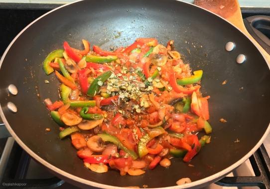 crunchy stir fry veggies in egg rice