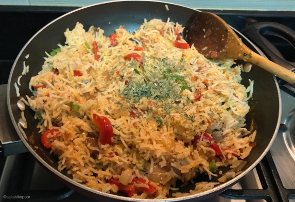 herbaceous egg rice with veggies